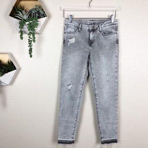 Zara grey acid wash distressed skinny jeans